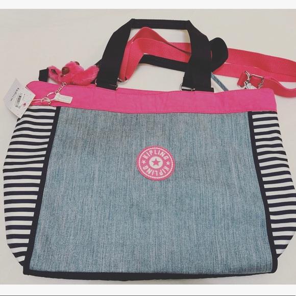 aec10e4a37 Kipling Bags | Pink Indigo Blue Shopper Tote Bag | Poshmark